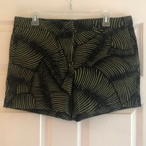 Green and Black Palm Print Shorts